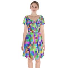 Jigsaw Puzzle Background Chromatic Short Sleeve Bardot Dress