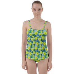 Narcissus Yellow Flowers Winter Twist Front Tankini Set by HermanTelo