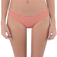 Gingham Plaid Fabric Pattern Red Reversible Hipster Bikini Bottoms by HermanTelo