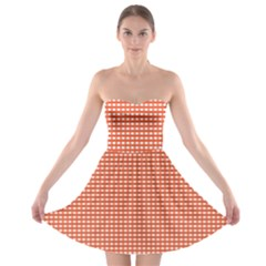 Gingham Plaid Fabric Pattern Red Strapless Bra Top Dress by HermanTelo
