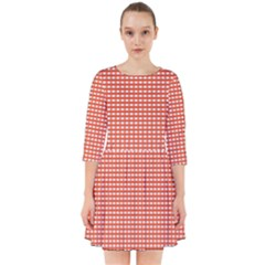 Gingham Plaid Fabric Pattern Red Smock Dress by HermanTelo