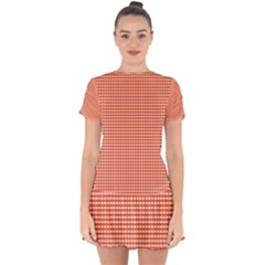 Gingham Plaid Fabric Pattern Red Drop Hem Mini Chiffon Dress by HermanTelo