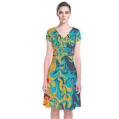 Crazy Swirls Short Sleeve Front Wrap Dress