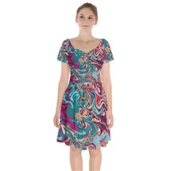 Crazy Swirls Short Sleeve Bardot Dress