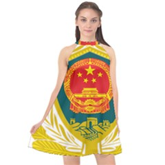Badge Of Chinese People s Armed Police Force Halter Neckline Chiffon Dress