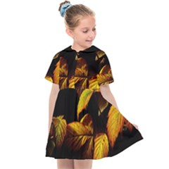 Nature Yellow Plant Leaves Kids  Sailor Dress by Pakrebo