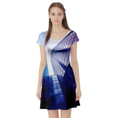 Abstract Architectural Design Architecture Building Short Sleeve Skater Dress