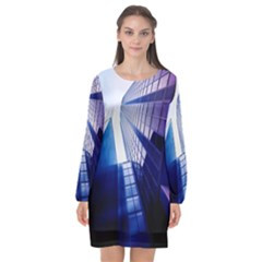 Abstract Architectural Design Architecture Building Long Sleeve Chiffon Shift Dress