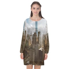 Architectural Design Architecture Buildings City Long Sleeve Chiffon Shift Dress