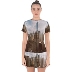Architectural Design Architecture Buildings City Drop Hem Mini Chiffon Dress