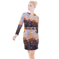 View Of High Rise Buildings During Day Time Button Long Sleeve Dress by Pakrebo