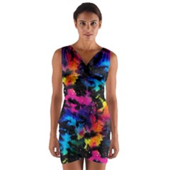 Tie Dye Rainbow Galaxy Wrap Front Bodycon Dress by KirstenStar