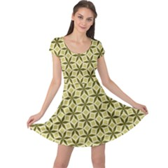 Green Star Pattern Cap Sleeve Dress