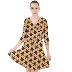 Gold Black Star Quarter Sleeve Front Wrap Dress