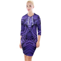 Mandala Neon Quarter Sleeve Hood Bodycon Dress