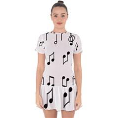 Piano Notes Music Drop Hem Mini Chiffon Dress