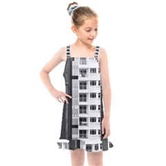 White And Black City Buildings Kids  Overall Dress by Pakrebo