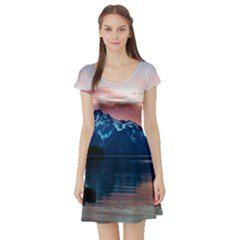 Tree Near Mountain Range Short Sleeve Skater Dress