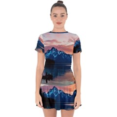 Tree Near Mountain Range Drop Hem Mini Chiffon Dress