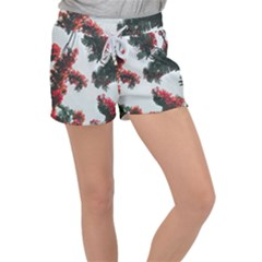 Red Petaled Flowers Women s Velour Lounge Shorts