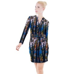 Silhouette Of Trees Button Long Sleeve Dress