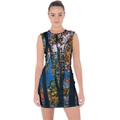 Silhouette Of Trees Lace Up Front Bodycon Dress