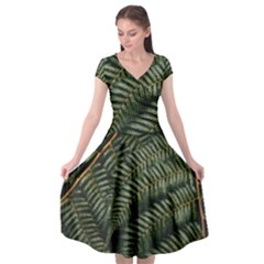 Green Leaves Photo Cap Sleeve Wrap Front Dress