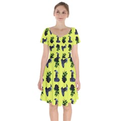 Gothic Girl Rose Yellow Pattern Short Sleeve Bardot Dress