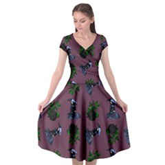 Gothic Girl Rose Mauve Pattern Cap Sleeve Wrap Front Dress by snowwhitegirl