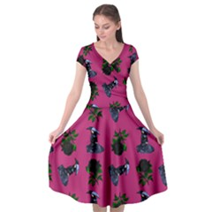 Gothic Girl Rose Pink Pattern Cap Sleeve Wrap Front Dress by snowwhitegirl