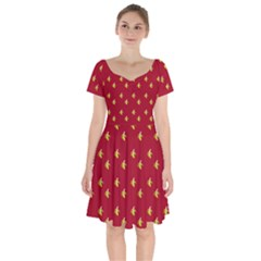 Peeled Banana On Red Short Sleeve Bardot Dress by snowwhitegirl
