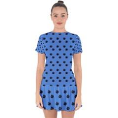 Blue Eyes Drop Hem Mini Chiffon Dress
