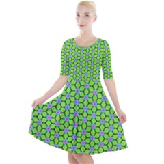 Pattern Green Quarter Sleeve A Line Dress