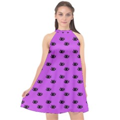 Purple Eyes Halter Neckline Chiffon Dress  by snowwhitegirl