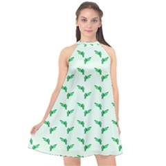 Green Parrot Pattern Halter Neckline Chiffon Dress