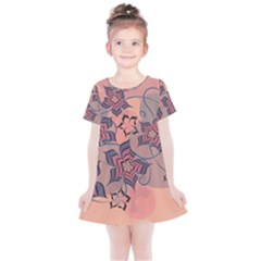 Flowers Orange Purple Warm Kids  Simple Cotton Dress by Bajindul