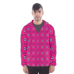 Pink Pattern Squares Men s Hooded Windbreaker by HermanTelo