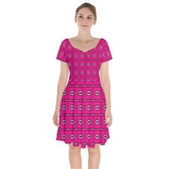 Pink Pattern Squares Short Sleeve Bardot Dress
