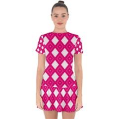 Pattern Texture Drop Hem Mini Chiffon Dress by HermanTelo