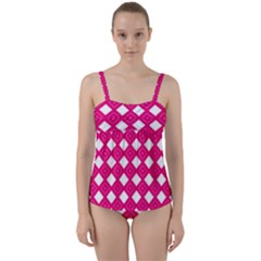 Pattern Texture Twist Front Tankini Set by HermanTelo
