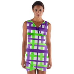Plaid Waffle Gingham Wrap Front Bodycon Dress