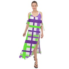 Plaid Waffle Gingham Maxi Chiffon Cover Up Dress by HermanTelo