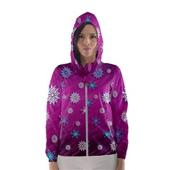 Snowflakes Winter Christmas Purple Women s Hooded Windbreaker by HermanTelo