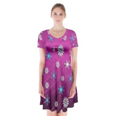 Snowflakes Winter Christmas Purple Short Sleeve V Neck Flare Dress by HermanTelo