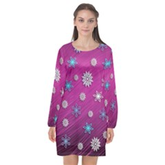 Snowflakes Winter Christmas Purple Long Sleeve Chiffon Shift Dress  by HermanTelo