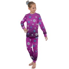 Snowflakes Winter Christmas Purple Kids  Long Sleeve Set  by HermanTelo