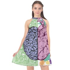 Brain Heart Balance Emotion Halter Neckline Chiffon Dress