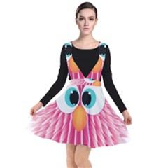 Bird Fluffy Animal Cute Feather Pink Plunge Pinafore Dress by Sudhe