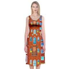 Town Buildings Old Brick Building Midi Sleeveless Dress