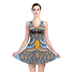Owl Drawing Art Vintage Clothing Blue Feather Reversible Skater Dress by Sudhe